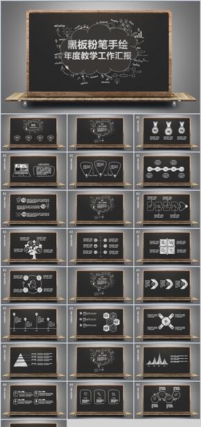 黑板粉笔手绘风格教学工作汇报PPT模板
