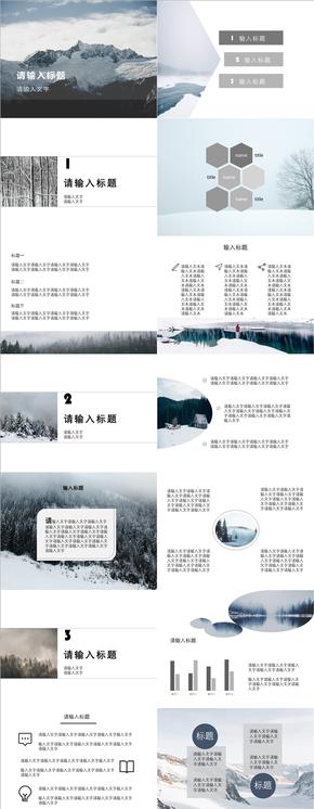 蓝色冬季扁平商务汇报报告PPT模板