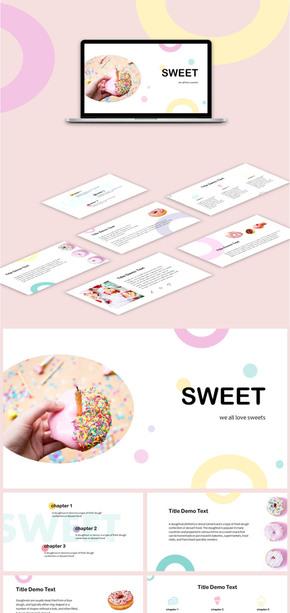 通用清新雜志風甜食PPT模板