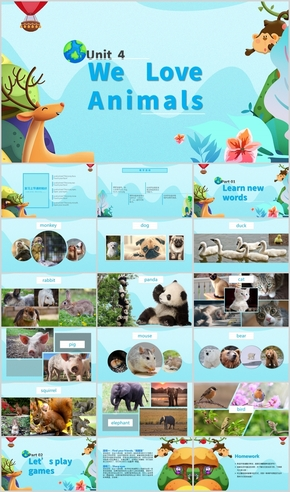 卡通动物风小学英语教学课件PPT展示