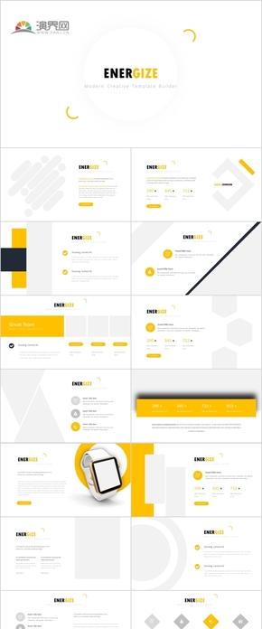 30P明亮黄色微立体商务科技数据逻辑流程展示PPT图表模版