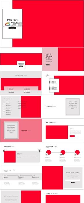 红色主题服装时尚摄影设计PPT模版