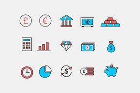 15个 红蓝两色商务金融图标 矢量+PSD