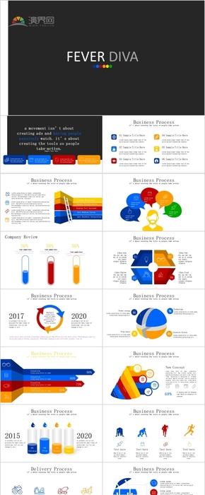 多彩商务企业管理数据分析统计ppt图表