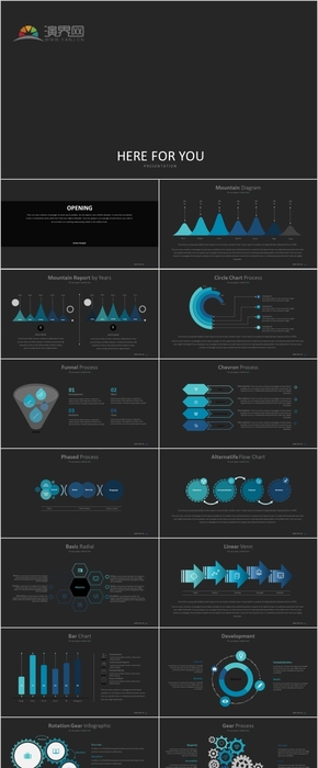 30P蓝色微粒体科技商务逻辑数据展示PPT图表合集
