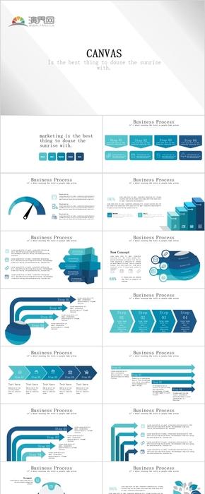 30P青色专业微立体商务逻辑数据展示动画模版PPT图表合集