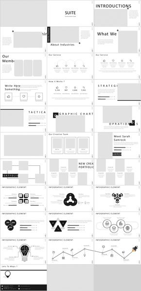 黑白线条艺术现代商务汇报专业PPT模板