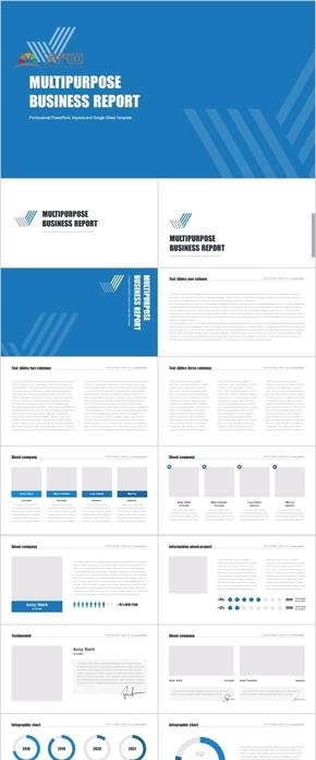 67P蓝色动感商务科技汇报多用途数据逻辑流程展示PPT动画图表合集