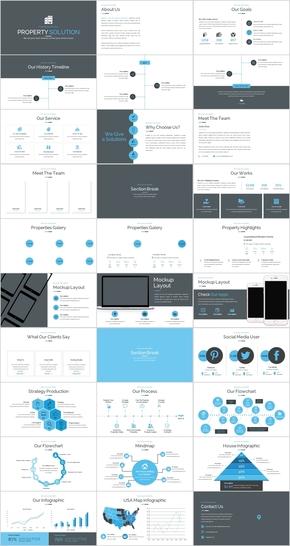 地产解决方案蓝色简约商务PPT模板