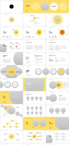 黄色时尚圆形主题商务广告PPT模板