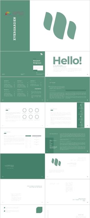 绿色极简小清新风商务科技企业个人汇报多用途PPT模版