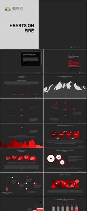 30P红黑动感专业风商务科技汇报数据逻辑展示图表