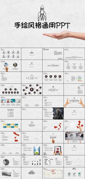 手绘风格公司简介企业宣传产品推广营销发布简介ppt模板