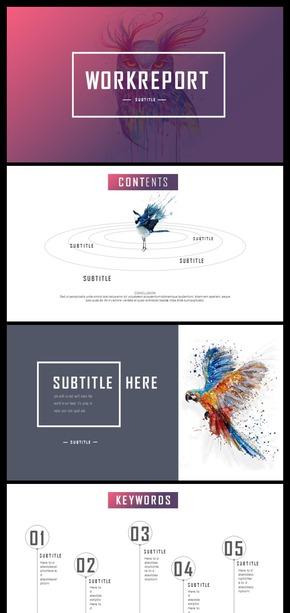 【简约商务】简约蓝色商务报告模板渐变色飞鸟创意商务工作汇报通用PPT模板