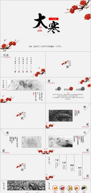 【ppt专属设计】2018年中国风传统节气大寒PPT模板