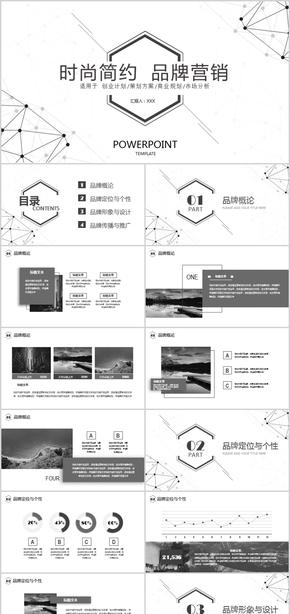 【ppt专属设计】简约黑白时尚品牌营销策划方案商业规划市场分析PPT模板