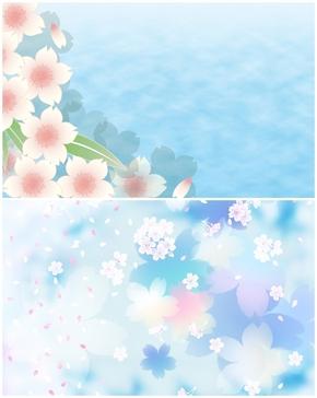 精选2款淡雅卡通小花PPT背景图片