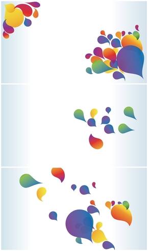 精选3款多彩艺术水滴效果PPT背景