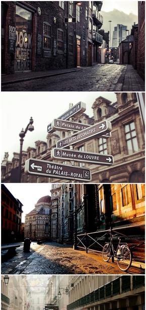 精选11款唯美欧美街头街景PPT背景图片