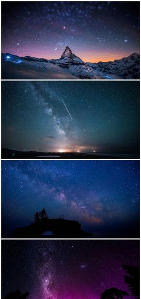 精选8款璀璨夜空星空PPT背景图片