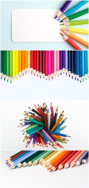 精选7款彩色铅笔PPT背景图片(1)