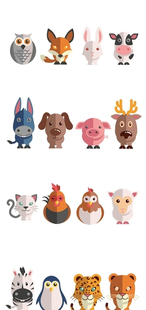 精选24款扁平化可爱小动物PPT素材