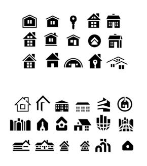 精选2套房子建筑物PPT小图标素材