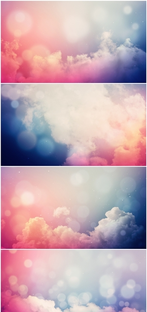精选12款彩色渐变云彩云朵PPT背景图片