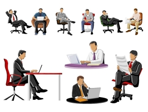 精选1套商务白领男士坐姿剪影PPT素材