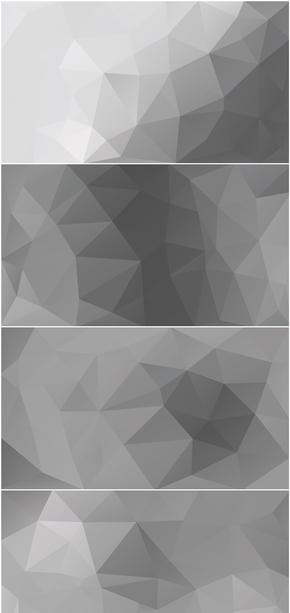 精选26款灰色灰白时尚低多边形PPT背景图片