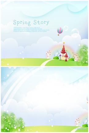 精选1套春天的故事PPT背景图片PPT母版