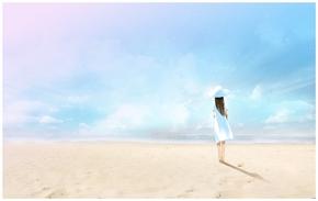 精选1款唯美海边的女孩PPT背景