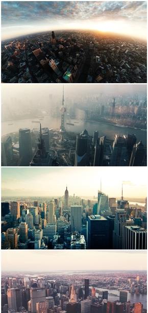 精选8款大气城市天际线PPT背景图片