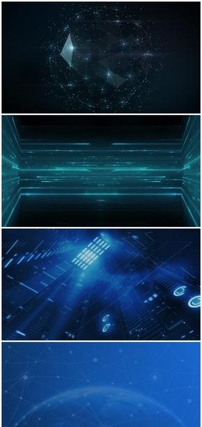 精选5款点线粒子科技感PPT背景图片