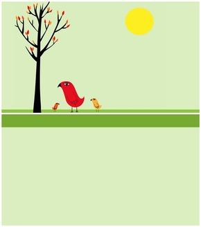 精选1款简洁卡通艺术小鸟PPT背景
