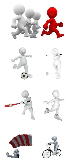 精选15款3D小人运动透明背景PNG图片素材