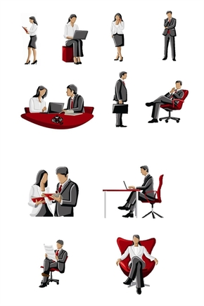精选2套透明背景公司人物剪影图片PPT素材