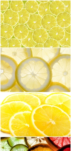 精选7款美味黄柠檬PPT背景图片
