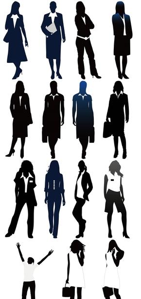 精选4套透明背景商务女士剪影PPT图片素材