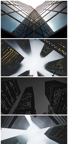 精选5款仰视角商务大楼大厦PPT背景图片