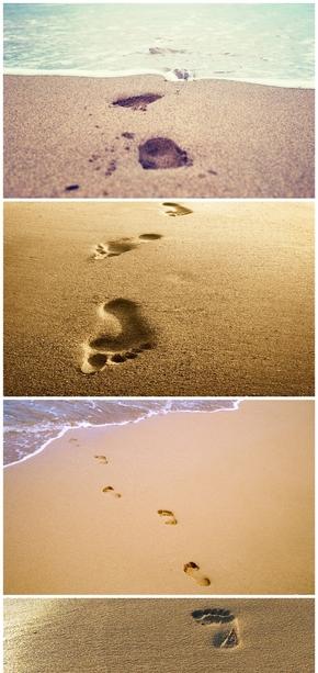 精选6款沙滩脚印足迹PPT背景图片