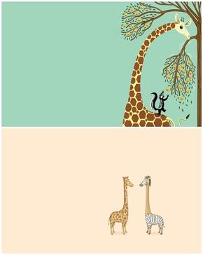 精选2款可爱卡通长颈鹿PPT背景图片