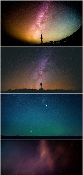 精选5款夜空星空繁星点点PPT背景图片