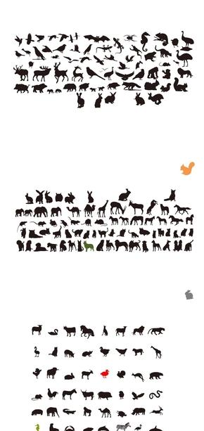 精选200个动物剪影可编辑PPT小图片素材