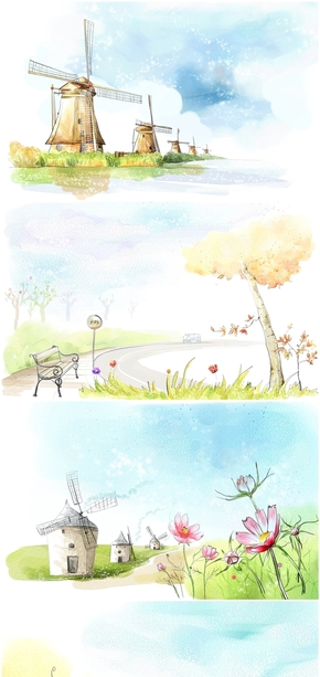 精选6款唯美水彩童话世界PPT背景图片