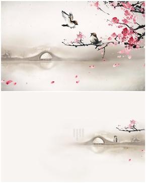 精选1套桃花小鸟拱桥古典PPT图片(可用于制作母版)