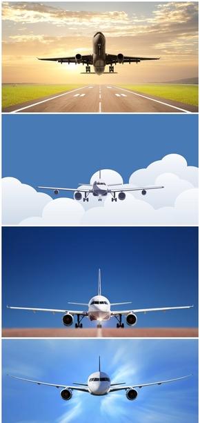 精选7款着陆起飞飞机PPT背景图片
