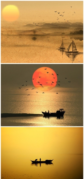 精选6款渔舟唱晚中国风PPT背景图片
