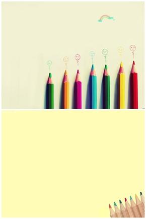 精选2款彩色铅笔幻灯片背景图片