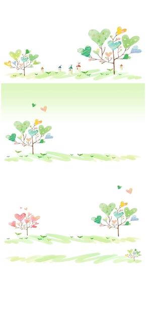 精选7款淡雅可爱心形小树PPT背景